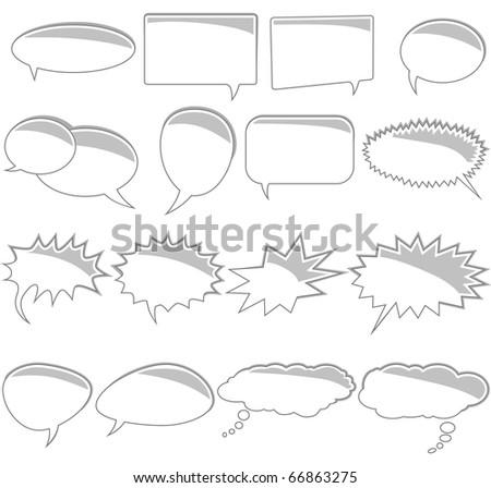 Set of comic book text bubbles - stock photo