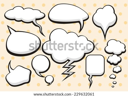 Set of comic bubbles and elements with shadows on stylish background cartoon design style. Raster version - stock photo