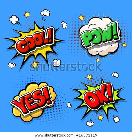 Set of Comic speech bubbles and  explosion boom - stock photo