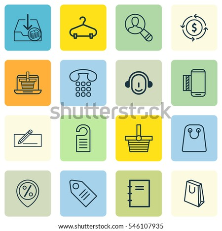 Set Of 16 Commerce Icons. Includes Ticket, Finance, Pannier And Other Symbols. Beautiful Design Elements.