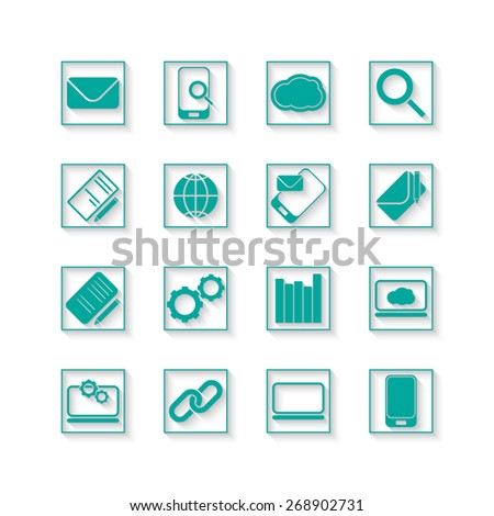 set of communication and office web icons - stock photo