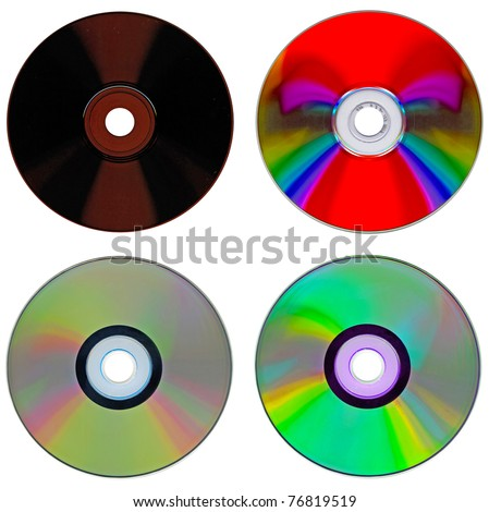 Set of compact disk isolated on white background - stock photo