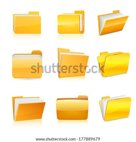 Set of computer folder. Raster copy.