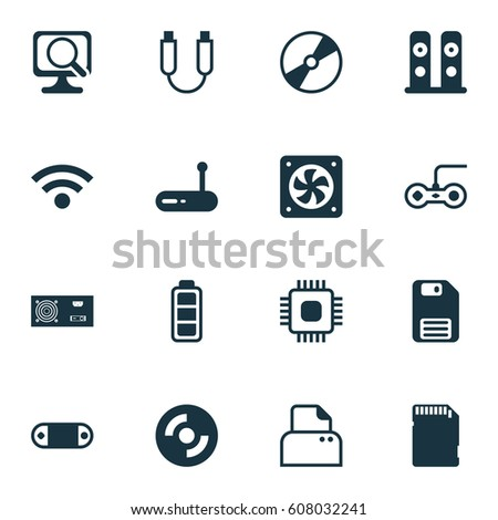 Set Of 16 Computer Hardware Icons. Includes Power Generator, Computer Ventilation, Joystick And Other Symbols. Beautiful Design Elements.