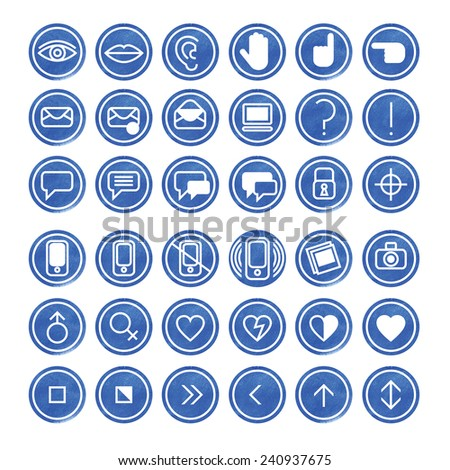 Set of computer icons with media and communication symbols. Can be used forOnline Dating - stock photo