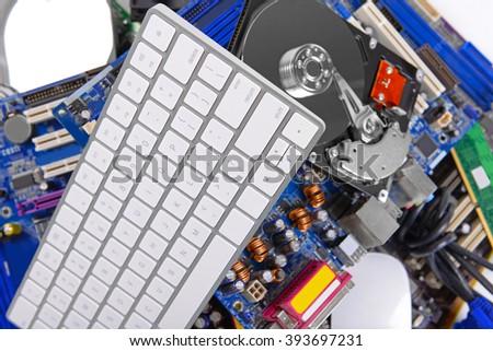 Set of computer parts, closeup - stock photo