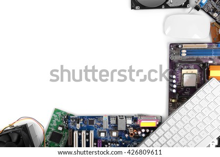 Set of computer parts isolated on white, copy space - stock photo
