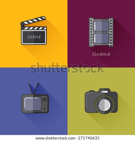 Set of concept icons for media industry (camera, TV, clapboard, filmstrip). Flat design with long shadows  - stock photo