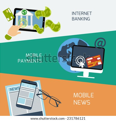 Set of concepts for mobile news, mobile payments and internet banking in flat design. Raster version  - stock photo