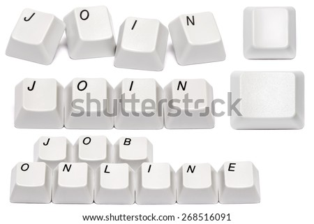 set of conceptual Word join collected from computer keyboard buttons isolated on white background - stock photo