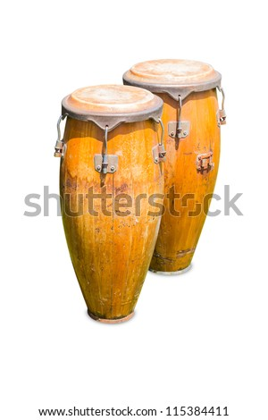 Set of congas, isolated on white background, with clipping path - stock photo