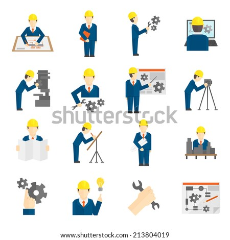 Set of construction industry engineer workers icons in flat style for profession science user computer interface  illustration - stock photo