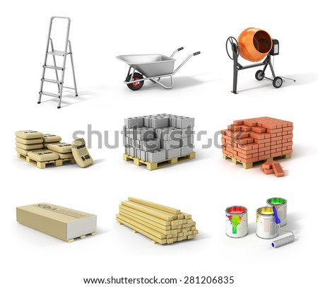 Set of construction material. Ladder, wheel, concrete mixer, cement, bricks, gypsum, beams and paint. - stock photo