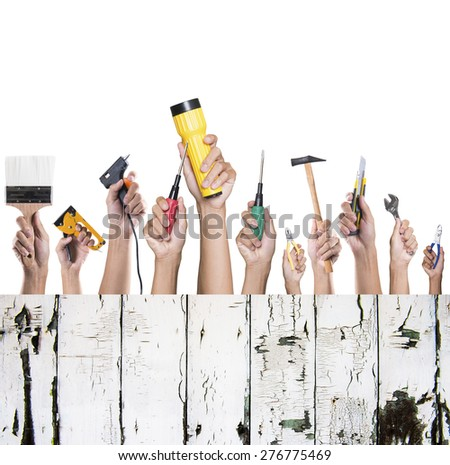 Set of construction tools. House renovation background - stock photo
