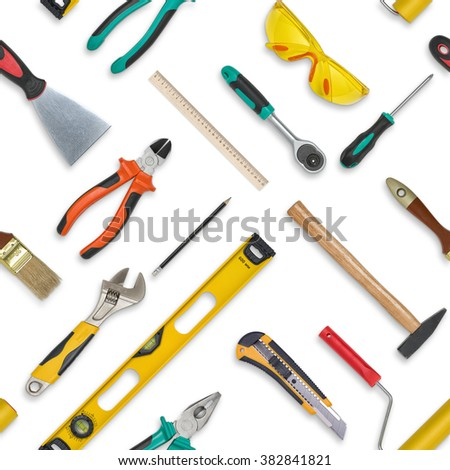 Set of construction tools isolated on a white background. Level,, glasses, wrench, paint roll, hammer, cutter, pliers. Seamless texture background - stock photo