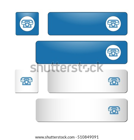 Set of contact us buttons. Color: blue. The shape is rectangle and square. Phone icon. For websites, mobile and desktop applications.