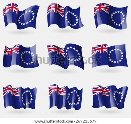 Set of Cook islands flags in the air.  illustration - stock photo