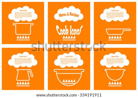 Set of cook template with pan, kettle, barbecue, pot. Illustration for menu, recipes, posters and banners - stock photo