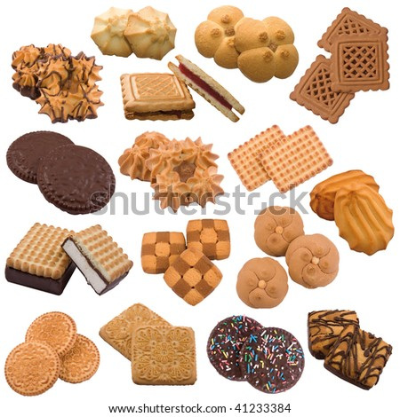 Set #2 of cookies of the various form on a white background - stock photo
