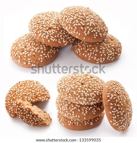 Set of Cookies with sesame seeds isolated on the white background