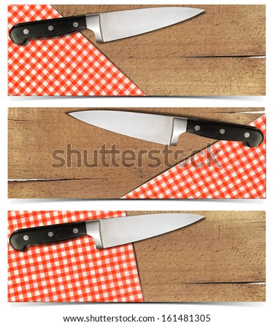 Set of Cooking Banners / Three cooking banners with used cutting board, checked tablecloth and kitchen knife isolated on white  - stock photo