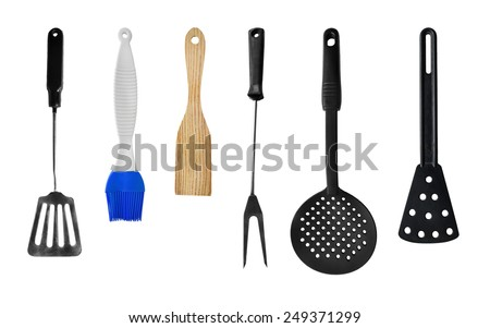 Set of cooking utensils on white background - stock photo