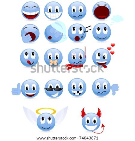 Set of cool smiles. - stock photo