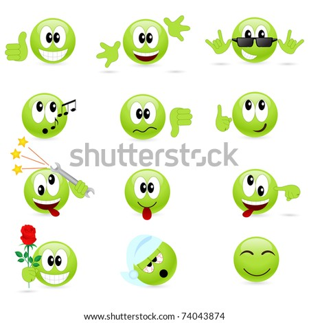 Set of cool smilies. - stock photo