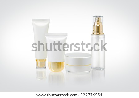 Set of cosmetic containers - stock photo