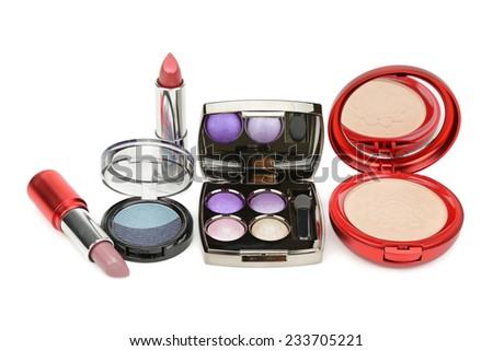 set of cosmetics isolated on white background - stock photo