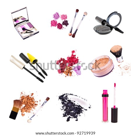 set of cosmetics isolated on white background - stock photo