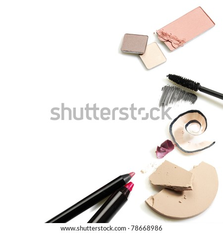 Set of cosmetics. Studio photo of makeup accessories on white background. - stock photo
