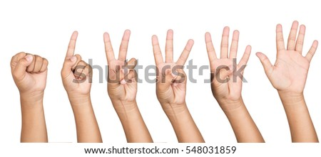 Set of counting hand boy sign isolated on white