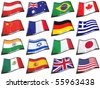 Set of 16 country flags over white background - clipping path included - stock photo
