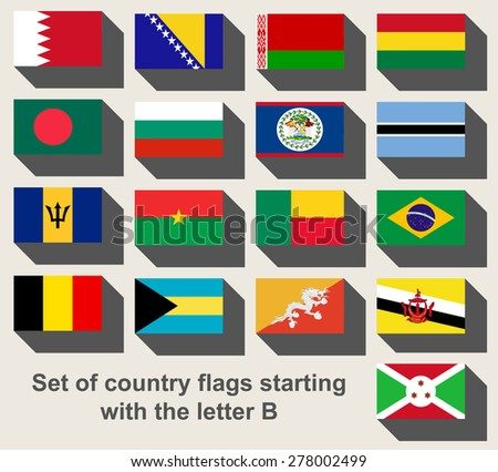 Set of country flags staring with the letter B - stock photo