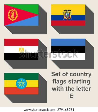 Set of country flags staring with the letter E. - stock photo