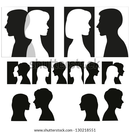 Set of couple silhouettes. - stock photo