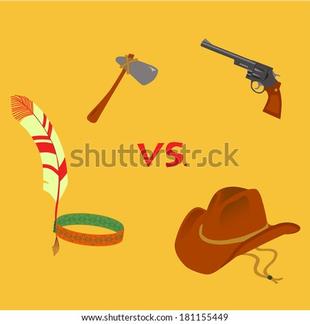 set of cowboy and native American attributes - stock photo