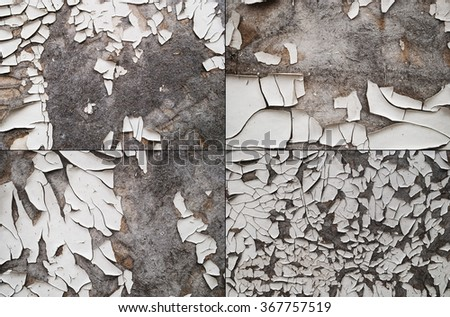 set of cracked and peeling white painted old wall - stock photo