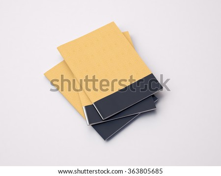 Set of craft blank notebooks on the white background. 3d render - stock photo