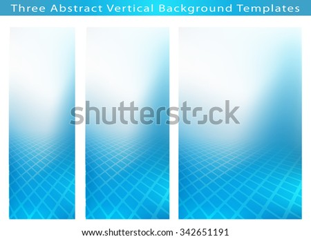 Set of 3 Creative Abstract .jpg background vertical images of cool blue smooth twist of light and rectangles design. Created in hi-resolution design templates . Plenty of copy space.  - stock photo