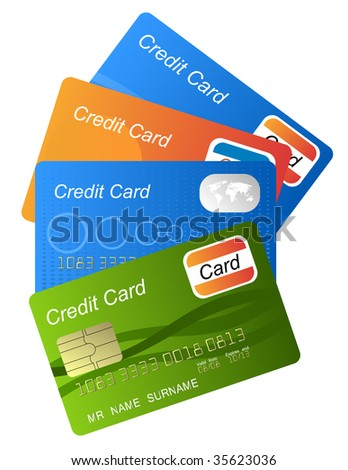 set of credit cards (jpg) - stock photo