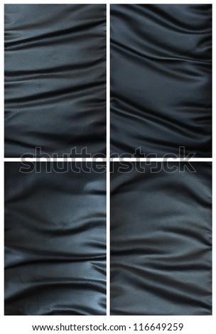 set of crumpled black leather texture - stock photo