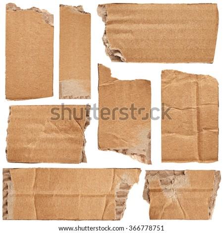 Set of crumpled cardboards isolated on white background - stock photo