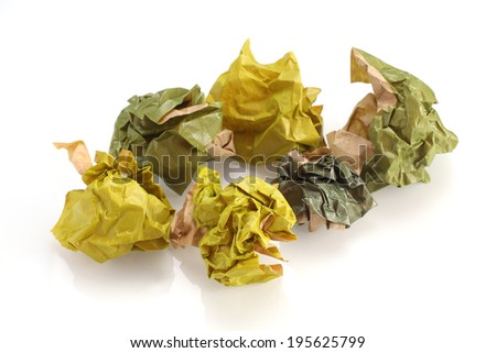Set of crumpled paper balls - stock photo