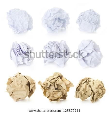 Set of  9 Crumpled Paper Balls - School Squared, Office and Brown Craft / blank and used up  / isolated on white background - stock photo
