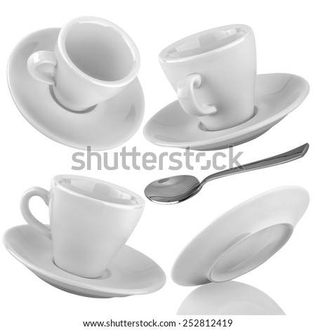 Set of cups of coffee with a silver spoon on a isolated background - stock photo