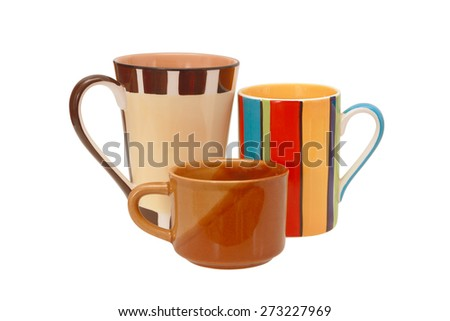 set of cups on a white background - stock photo