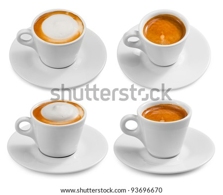Set of cups with coffee isolated on white background. - stock photo