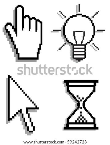set of cursors , internet icon's - stock photo